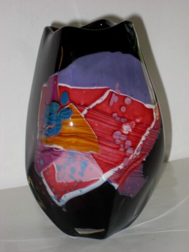 Gorgeous Abstract Art Glass Vase by  Mystery Artist (Signature Illegible)