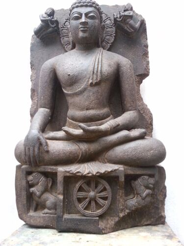 Stone Statue Of Buddha In Enlightenment Stage 10th Century Style Old Rare Art