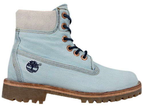 Timberland 6 Inch Premium Lace Up Denim Blue Ankle High Womens Boots A1G83 T3CD