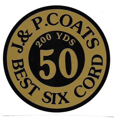 J & P COATS SPOOL CABINET DECAL /  DECAL 5 INCH ROUND