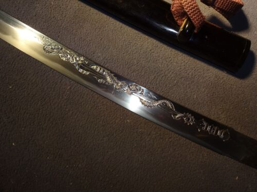 "K74 Japanese sword wakizashi in mountings ""Tsunahiro"", horimono by ""Munetsugu"""