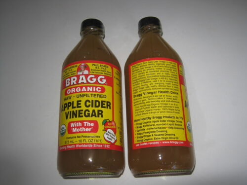 6 x 473ml BRAGG Organic Raw Unfiltered APPLE CIDER VINEGAR  with the ' Mother '