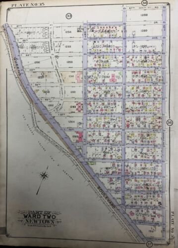 ORIGINAL 1927 FOREST HILLS QUEENS NY P.S. #3 YELLOWSTONE PARK PLAT ATLAS MAP