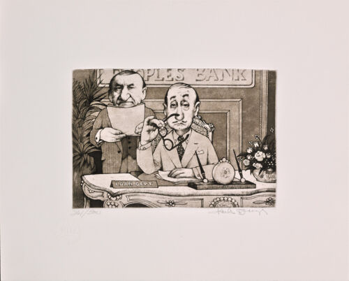 """Charles Bragg - """"The Banker"""", hand signed etching"""