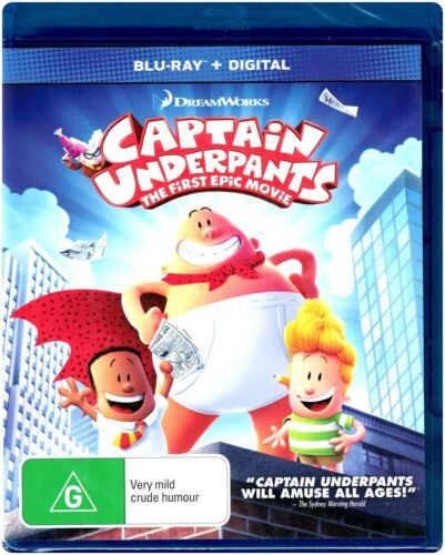 """CAPTAIN UNDERPANTS: The First Epic Movie"" Blu-ray + Digital Copy Region [B] NEW"