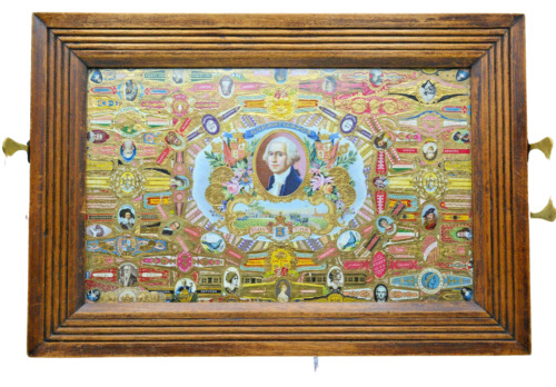 rare antique british Arts & Crafts Tray in Oak with many Cigar Bands under glass