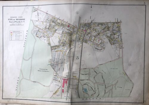 ORIG 1906 MIDDLESEX CO MA OAK GROVE PINE BANKS PARK WYOMING CEMETERY ATLAS MAP