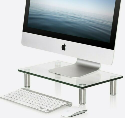 FITUEYES Clear Glass Monitor Riser Desktop Stand ✪NEW✪ iMac XBOX PS4 DT103801GC
