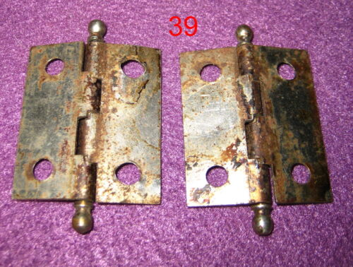 OLD ANTIQUE VINTAGE 1 PAIR BUTT CABINET STEEL PLATED BRASS DOOR HINGES # 39