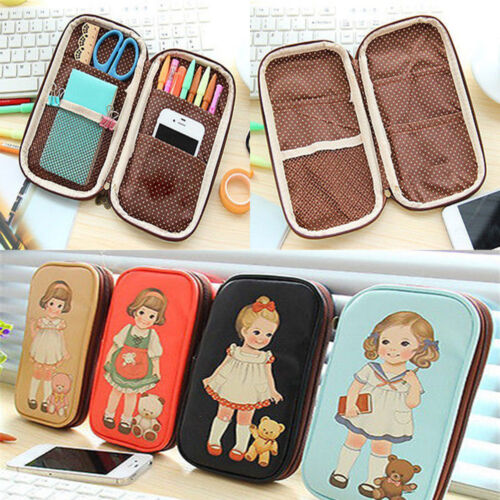 Cool Women Little Doll Pen Pencil Case Bag Stationery Makeup Cosmetic Cute Bag