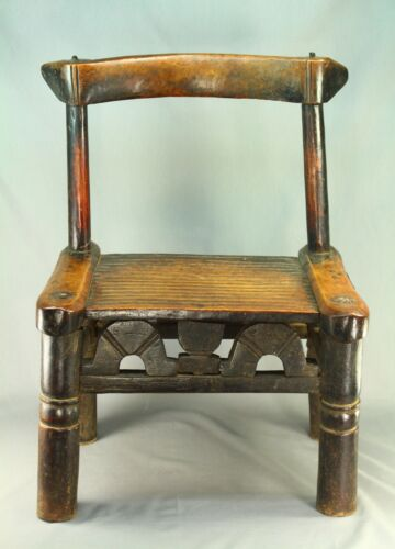 ! Antique SENUFO Ivory Coast Carved Wood Chief's Chair African Tribal Furniture