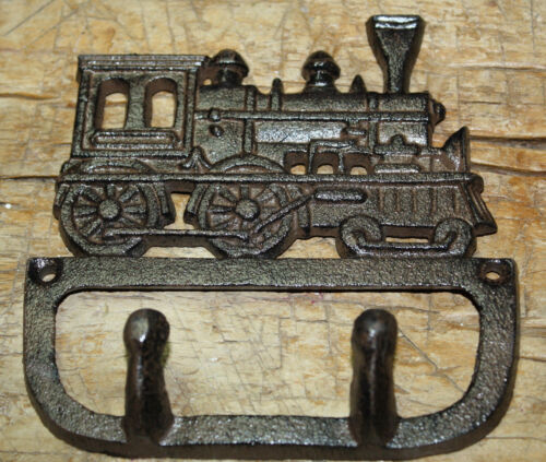Cast Iron Antique Style TRAIN Coat Hooks Hat Hook Rack Towel Railroad Locomotive