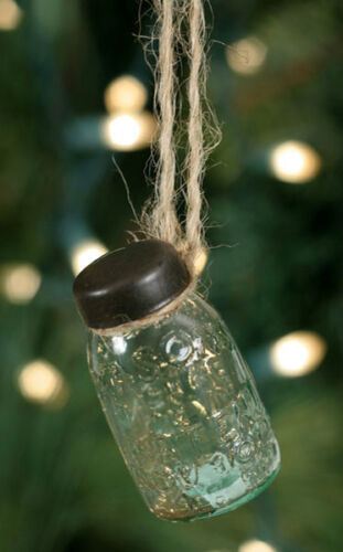 set of 2 Hanging Mason Jar Ornaments - Primitive Christmas Tree Ornament