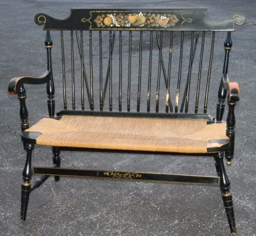 ANTIQUE BLACK PAINTED STENCILED DEACONS WINDSOR BACK BENCH JUTE ROPE STRING SEAT