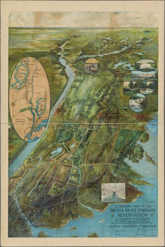 1915 BIRD'S EYE VIEW WESTCHESTER COUNTY BRONX RIVER PARKWAY NEW YORK POSTER MAP