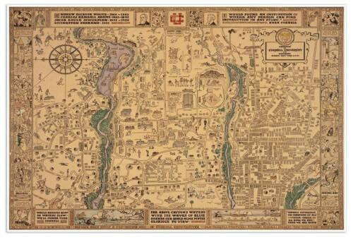 CORNELL University Campus Guide MAP Vintage Reprint Print circa 1928 24x36