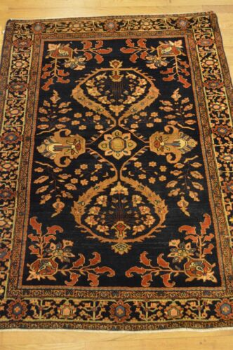 3'x5' Farahan Genuine Antique Handwoven Blue Floral Wool Rug (ca.1850)
