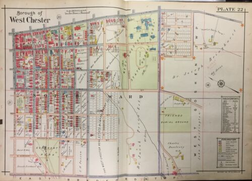 1912 WEST CHESTER PA. NORMAL SCHOOL (UNIVERSITY) FRIENDS BURIAL GROUND ATLAS MAP