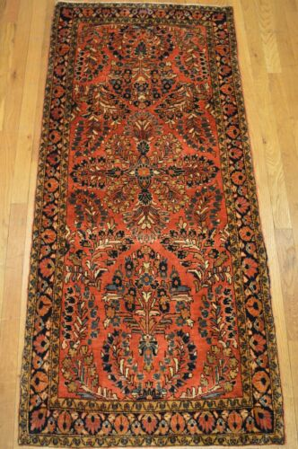 2'x5' Sarouk Genuine Antique Handmade Floral Wool Woven Rug (ca.1880)