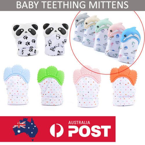 TEETHING MITTEN SILICONE BABY TEETHER Mitt Glove Safe BPA Free Chew Dummy Toy AU <br/> FREE TRACKING ON EVERY ORDER!! NEW EXCLUSIVE DESIGNS!!