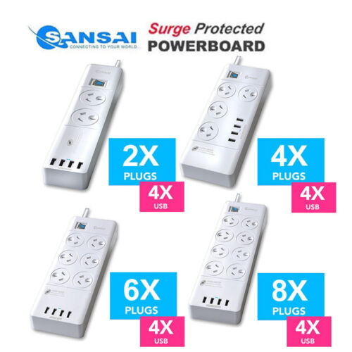 Sansai Power Board 2 4 6 8 Way Outlets Socket 4 Port USB Charger Surge Protector