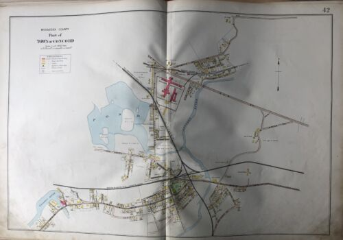 1906 MIDDLESEX CO MA CONCORD REFORMATORY JUNCTION STA. ASSABET RIVER ATLAS MAP