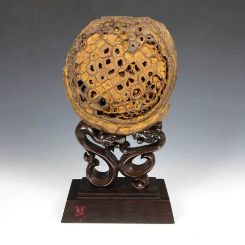 CHINESE GONGSHI SCHOLAR'S ROCK LUO NET WITH CARVED WOOD BASE CHINA