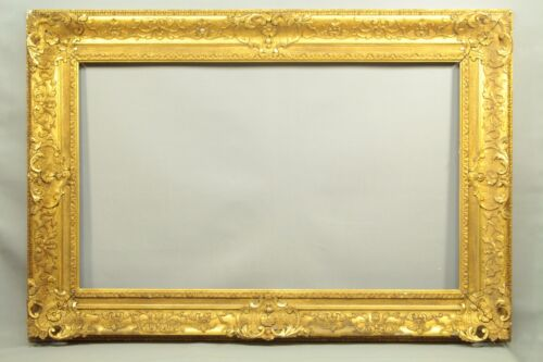 "= HUGE Antique 1850's British Ornate Gilt Wood Frame 128 x 88 cm (50.6"" x 34.6"")"