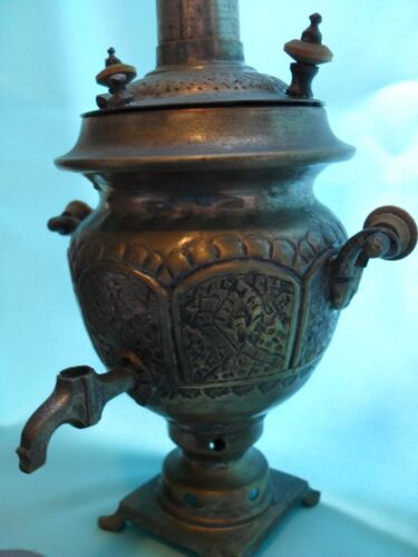 ANTIQUE BRASS SAMOVAR. PERSIAN QAJAR ART. MIDDLE EAST HANDMADE COLLECTABLE