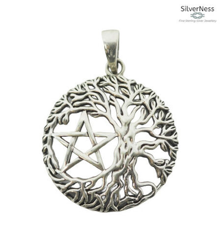 SilverNess Jewellery Yggdrasil Tree of Life and Pentagram Pendant: 925 Silver