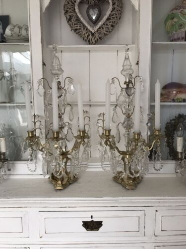 A pair French gilt Bronze and Crystal Candelabra Girandole set table Chandelier