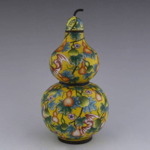 CHINESE LIDDED GOURD VASE ENAMELED COPPER  PEAR BAT FU SYMBOLS EARLY 20TH C.