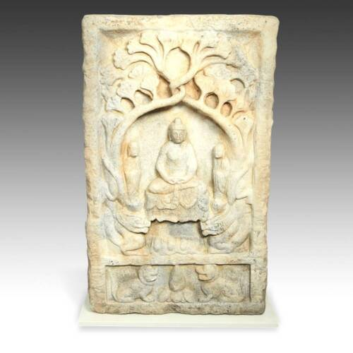 CHINESE BUDDHIST STELE SCULPTURE MARBLE HEBEI PROVINCE BUDDHISM 19TH C.