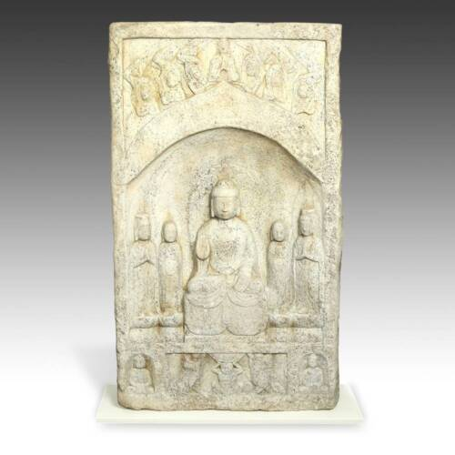 CHINESE BUDDHIST STELE SCULPTURE QING ZHOU STONE HEBEI PROVINCE BUDDHISM 19TH C.