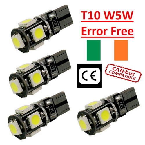 4x Canbus LED Error Free T10 6000k HID White W5W Bulbs Side Parking Lights 12V