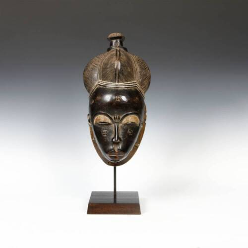AFRICAN MBOLO PORTRAIT MASK PAINTED WOOD BAULE IVORY COAST WEST AFRICA 20TH C.