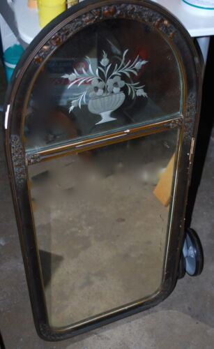 Art Deco etched hall mirror of a basket of flowers wood frame