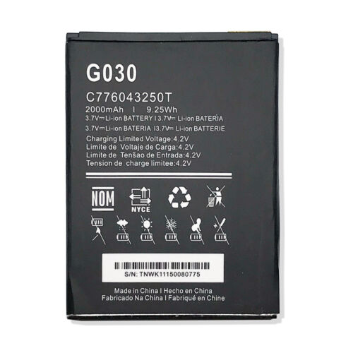 New Li-ion Battery For Blu Grand 5.5 HD G030 3.7V 2500mAh 9.25Wh C776043250T