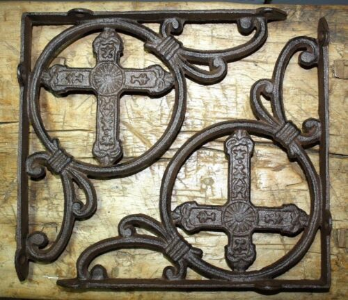 2 Cast Iron Antique Style HUGE CROSS Brackets Garden Braces Shelf Bracket HD