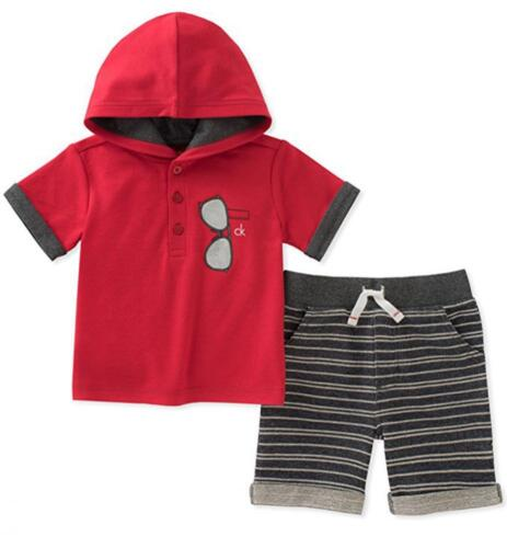Calvin Klein Infant Boys Red Hooded Top & Short Set Size 3/6M 6/9M 12M 18M 24M