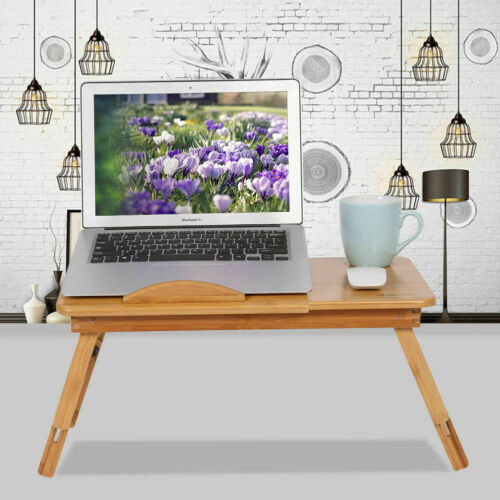 Foldable Bamboo Laptop Table Cooling Holder Desk Multi-Function Table Stand AU