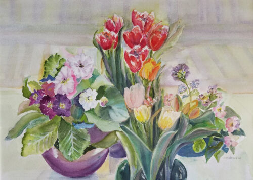 Painter Suzanne Obrand Holocaust Survivor Watercolor Painting Tulips and Pansies