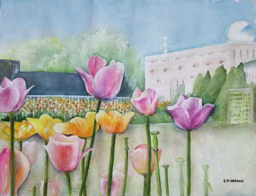 """Painter Suzanne Obrand Holocaust Survivor, Watercolor Painting """"Tulips in Bloom"""""""