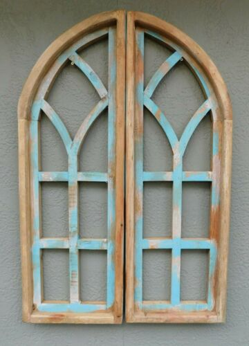 "2 Wooden Antique Style Church WINDOW Frame Shutters Wood Gothic 35 3/4"" Shabby"