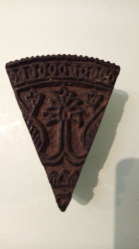 Vintage Wooden Triangular Shaped Textile Stamping Block With Floral  Design