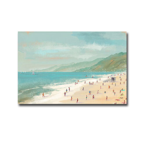 Santa Monica Beach by Pete Oswald Gallery-Wrapped Canvas Giclee (24 in x 36 in)