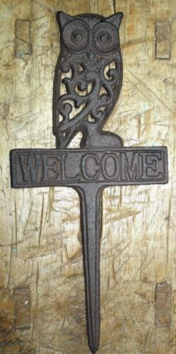 Rustic Cast Iron OWL WELCOME Sign Garden Stake Home Decor Pond Plaque Man Cave