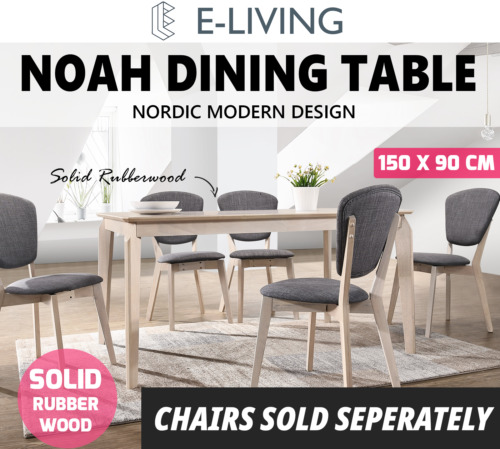 NOAH Designer Dining Table 150x90 Cm 6 Seater Scandinavian Solid Wood White Oak <br/> ⭐Exclusive Design ⭐Next Day Dispatch⭐Top Quality⭐