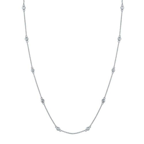 BERRICLE 925 Silver CZ by the Yard Station Necklace Made with Swarovski Zirconia