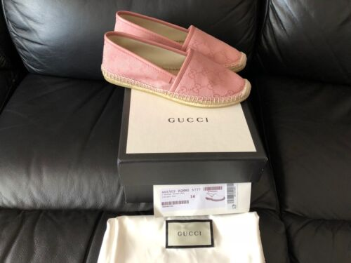 GUCCI DOUBLE G LOGO PINK WOMENS ESPADRILLES SHOES SIZES EU 36 36.5 38 39 NEW